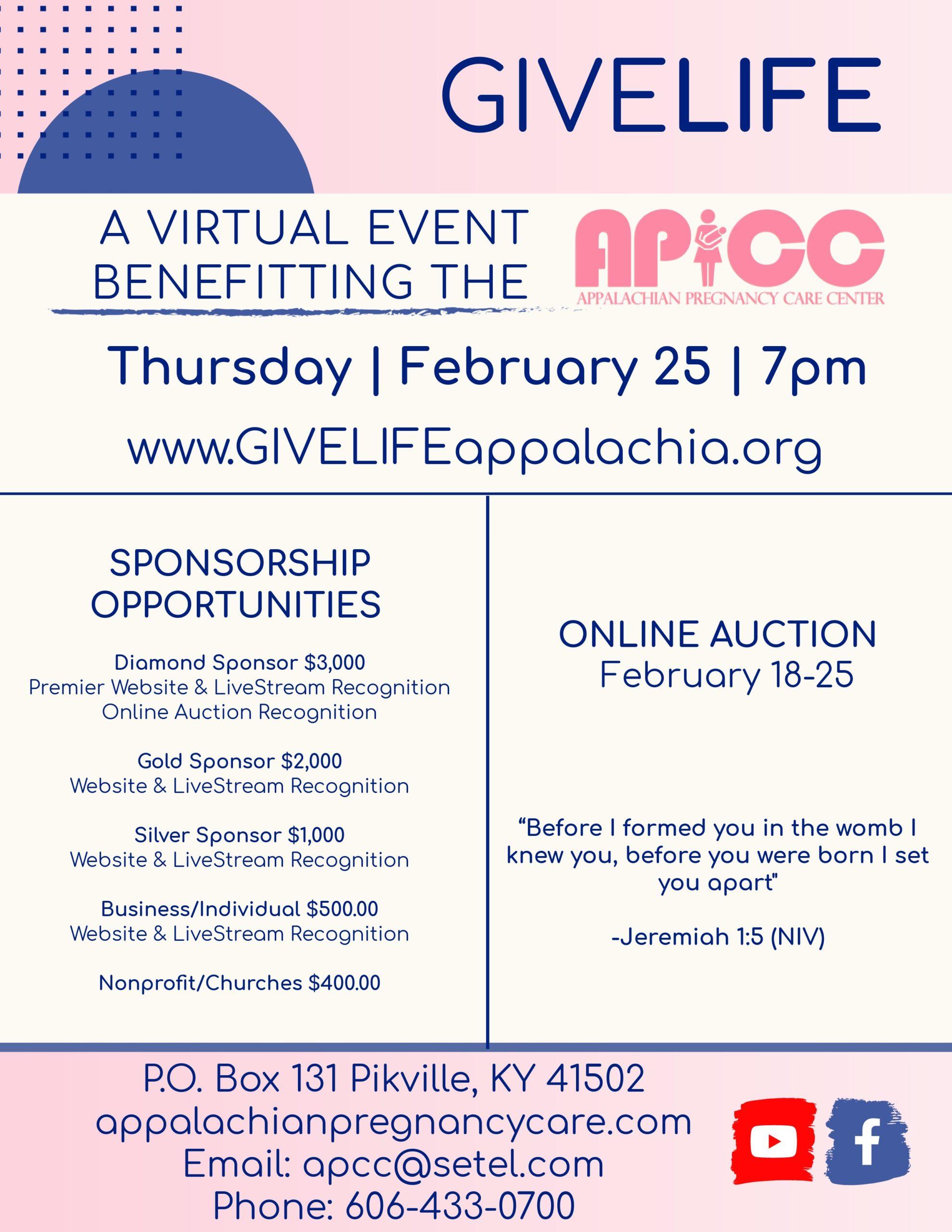 Virtual Auction Benefiting Appalachian Pregnancy Care Center