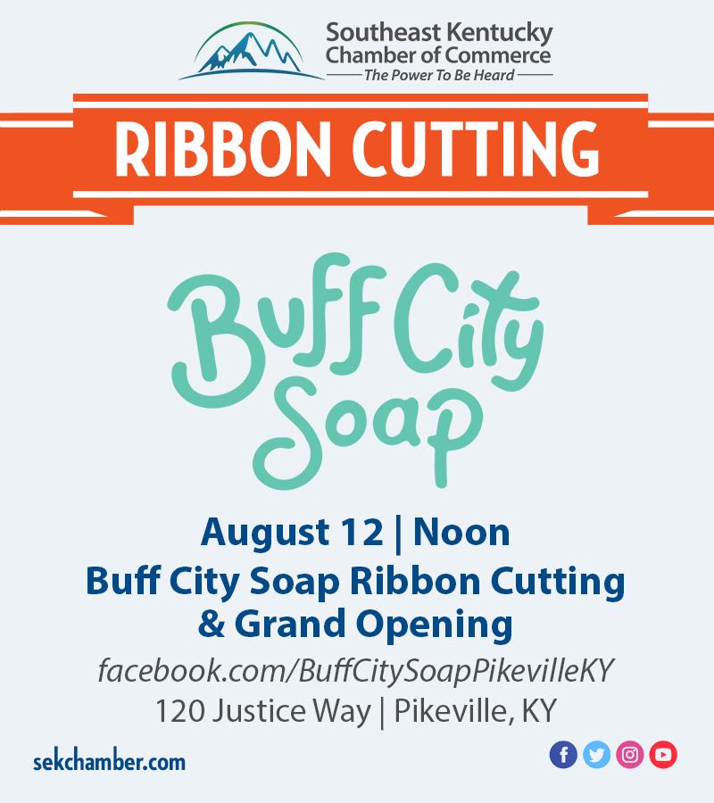 Buff City Soap Ribbon Cutting Flyer