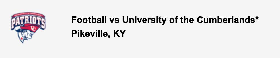 Football vs University of the Cumberlands