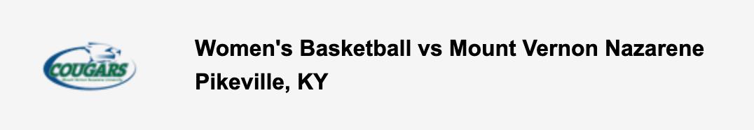 Women's Basketball vs Mount Vernon Nazarene